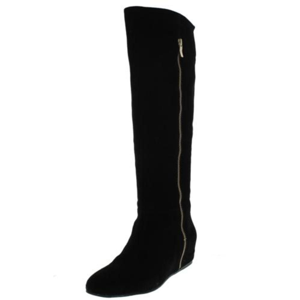 bcbg new isanna black wide calf wedge knee high