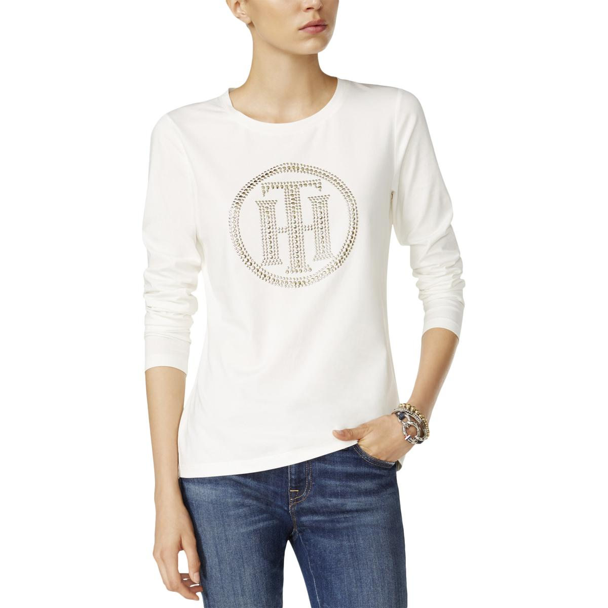 Tommy-Hilfiger-7816-Womens-Embellished-Long-Sleeves-Jersey-Knit-Top-Shirt-BHFO
