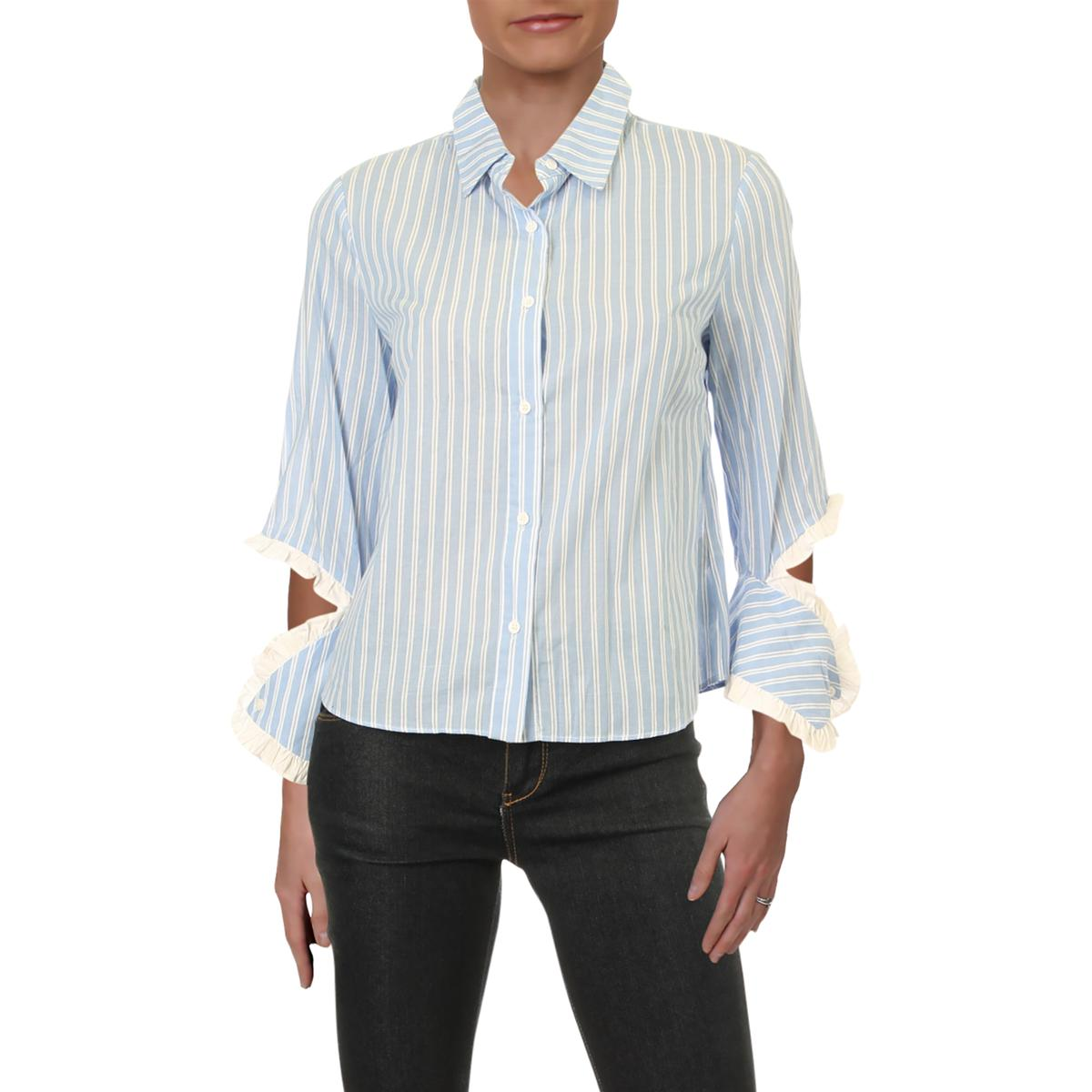 Lucky Brand Womens Striped Side-Slit Casual Button-Down Top Blouse BHFO 3313