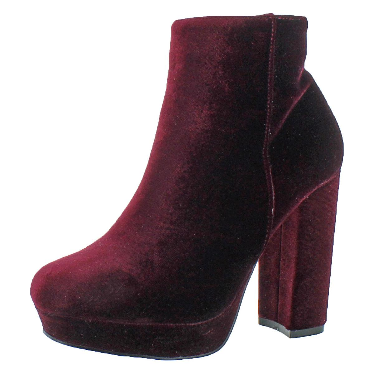 714496dcc129 Details about Steve Madden Womens Pacie Red Velvet Ankle Boots Heels 10  Medium (B