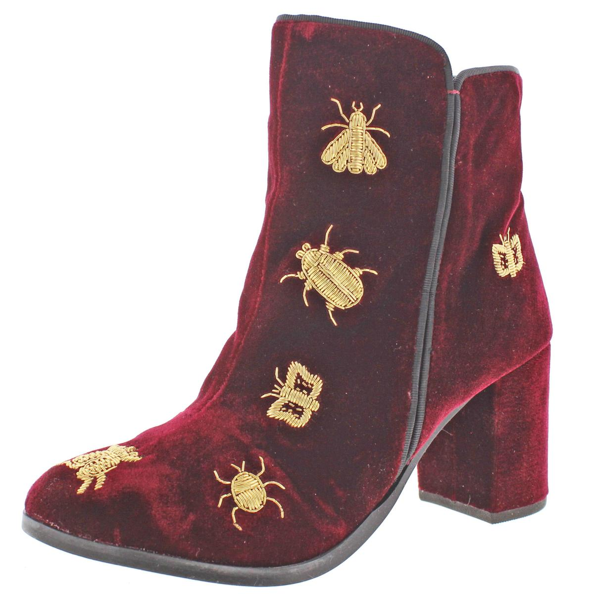 Naughty Monkey Superfly Womens Velvet Embroidered Ankle Booties Detail Boots Women 039 S