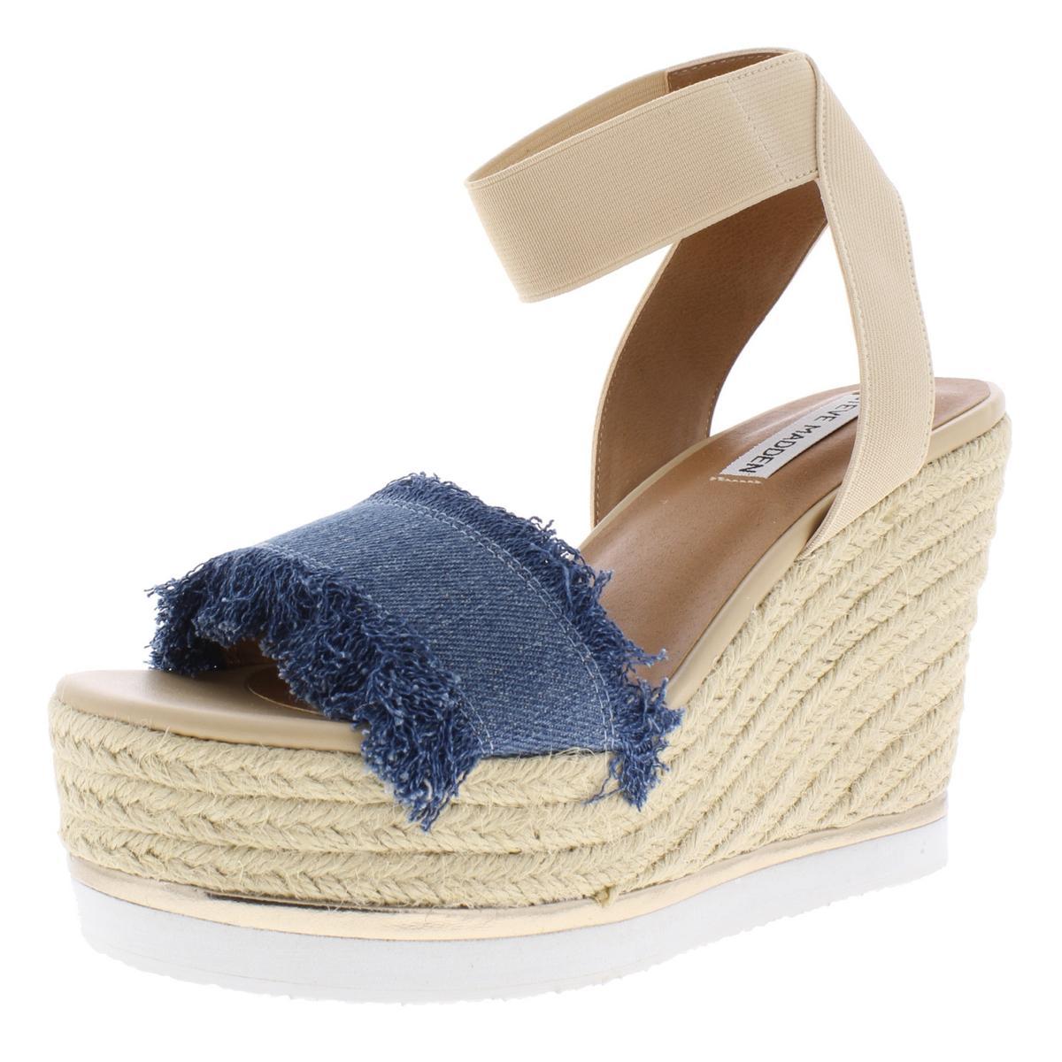 133bfdc0dde Steve Madden Womens Venus Fringe Metallic Trim Wedge Sandals Shoes ...