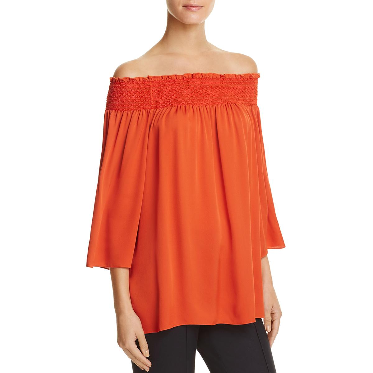 Theory Woman Smocked Off-the-shoulder Silk Off-the-shoulder Smocked Silk Top Peach Size S Theory Outlet Sast JtVShU
