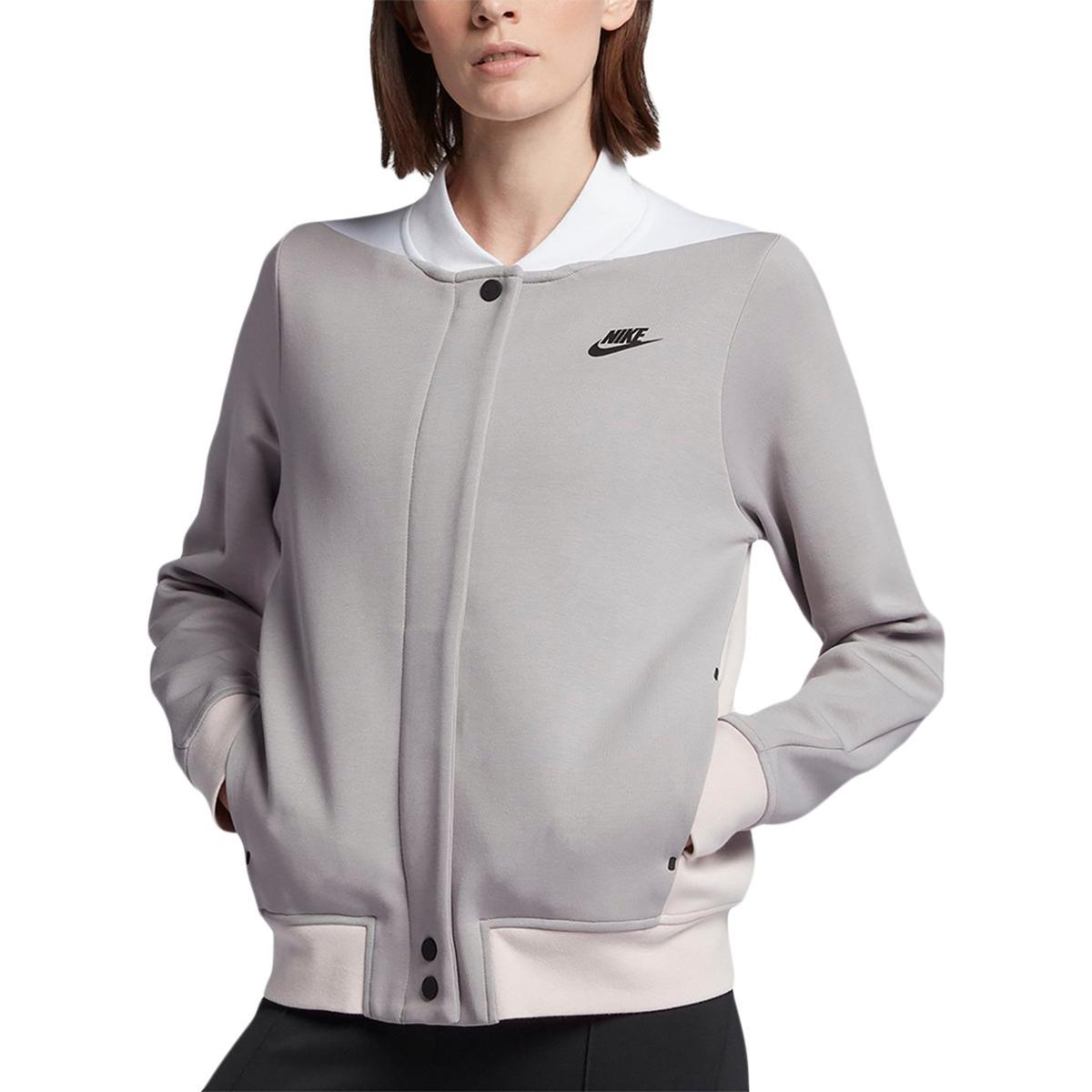 697569f370c5 Nike Womens Gray Fall Fleece Lightweight Bomber Jacket Outerwear M BHFO 0924