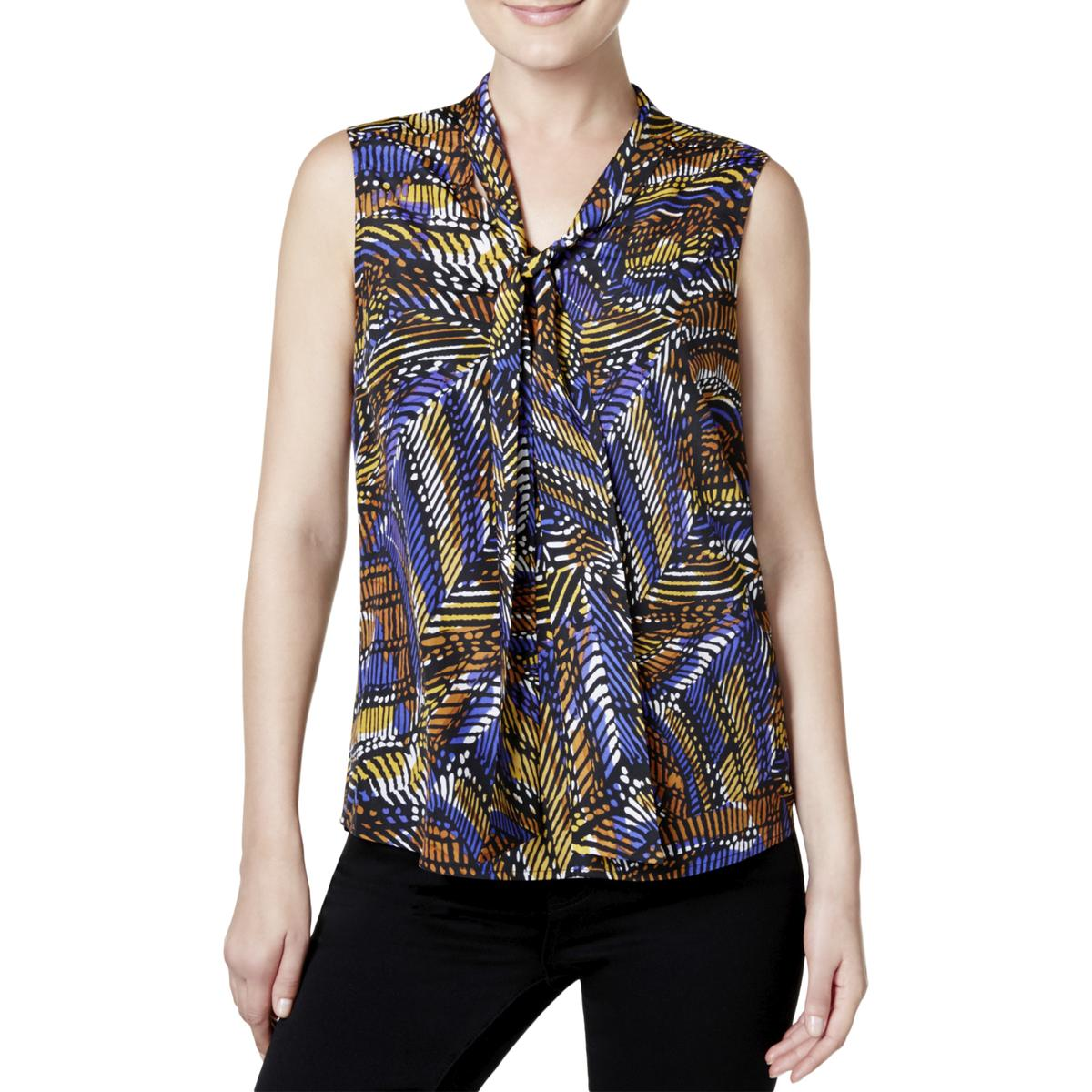 e83206ecd1750 Details about Kasper Womens Printed Tie-Neck Sleeveless Blouse Top BHFO 8481