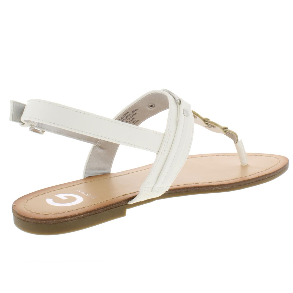 G-by-Guess-Womens-Lesha-Faux-Leather-T-Strap-Flat-Sandals-Shoes-BHFO-5291 thumbnail 4