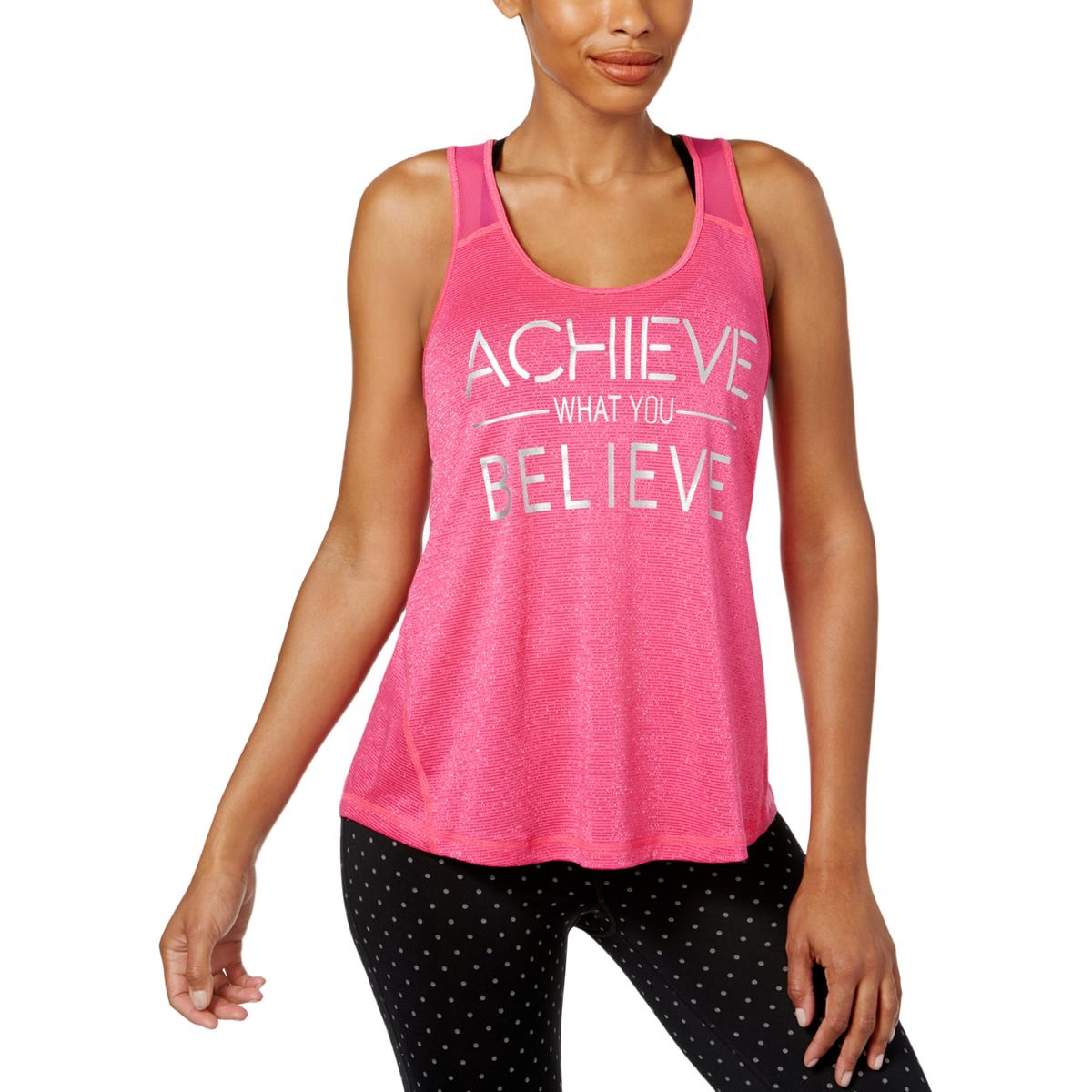 ca51cb488b81bd Details about Ideology Womens Believe Slogan Fitness Yoga Tank Top BHFO 9071