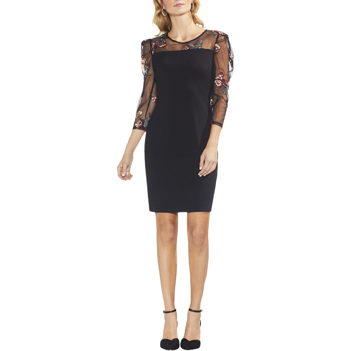 Vince Camuto Womens Floral Print Double-V Sleeveless Cocktail Dress BHFO 2731