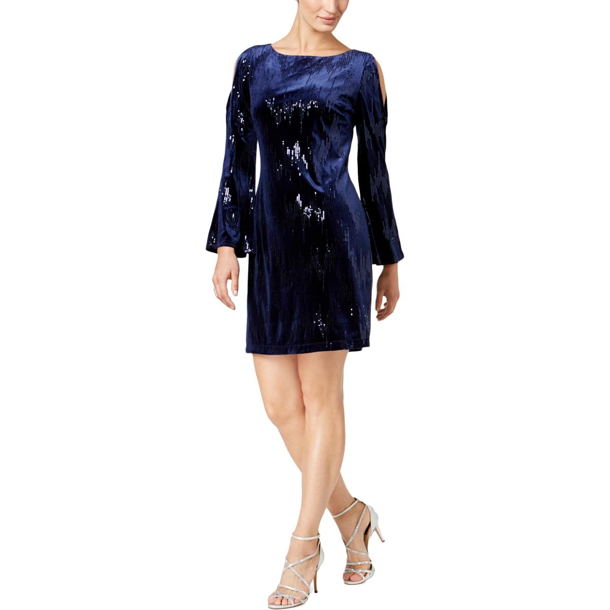 fd15750f91a62 Details about Jessica Howard Womens Navy Sequined Velvet Cocktail Dress 12  BHFO 6323