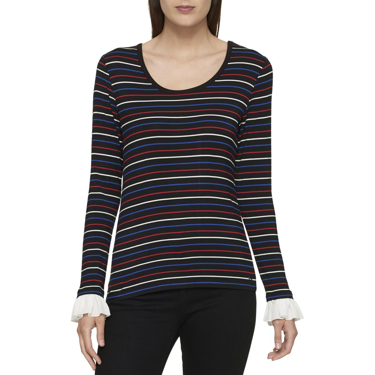 e80162c4d Details about Tommy Hilfiger Womens Striped Ruffle Sleeve Casual Top Shirt  BHFO 7628