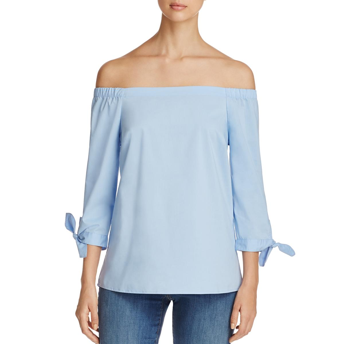 f33f3458b015f5 Details about Cupio Womens Button Down Back Off the Shoulder Tie Sleeve  Casual Top BHFO 3411