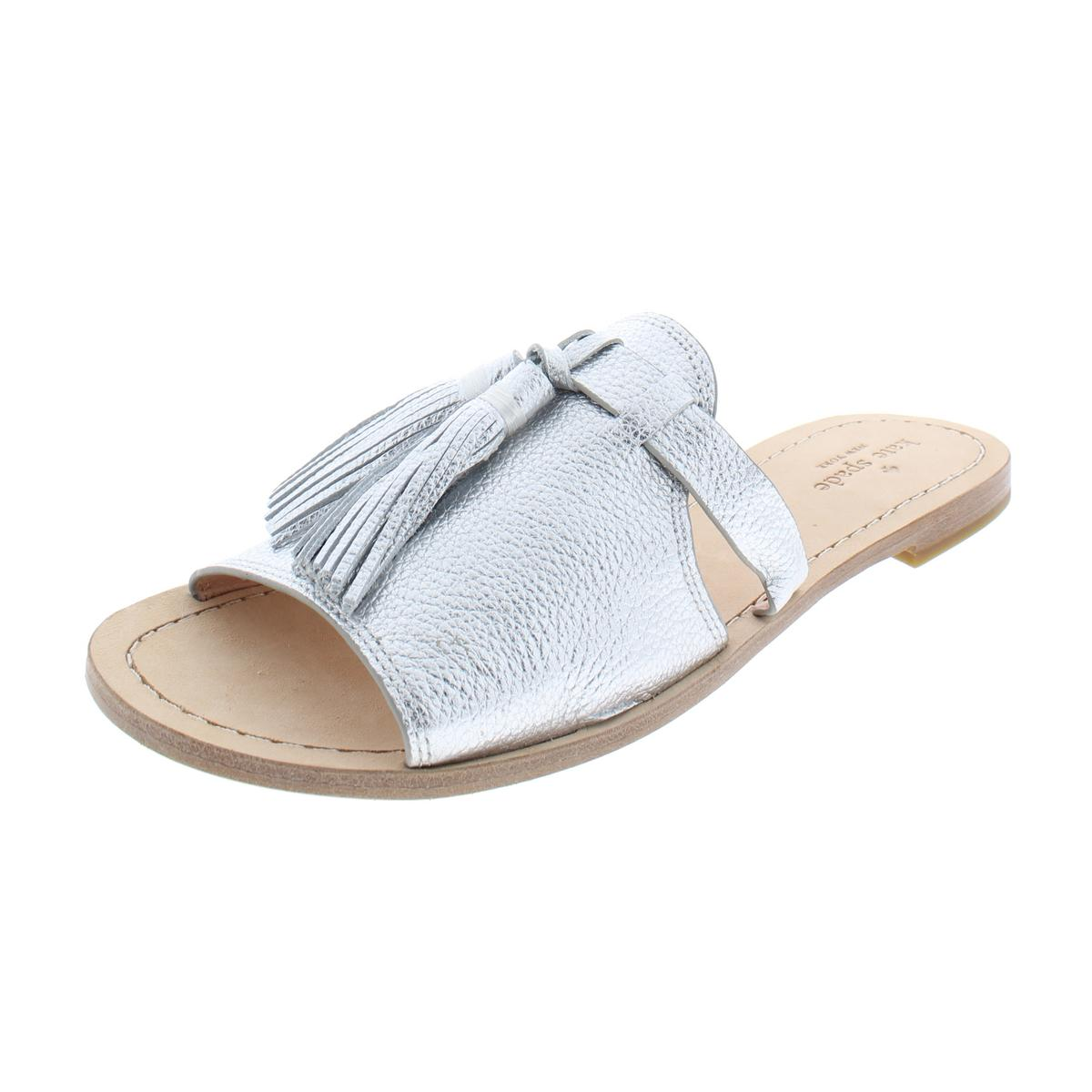 fa4aa9807bc2 Kate Spade Womens Coby Silver Metallic Slides Flat Sandals Shoes 6 ...