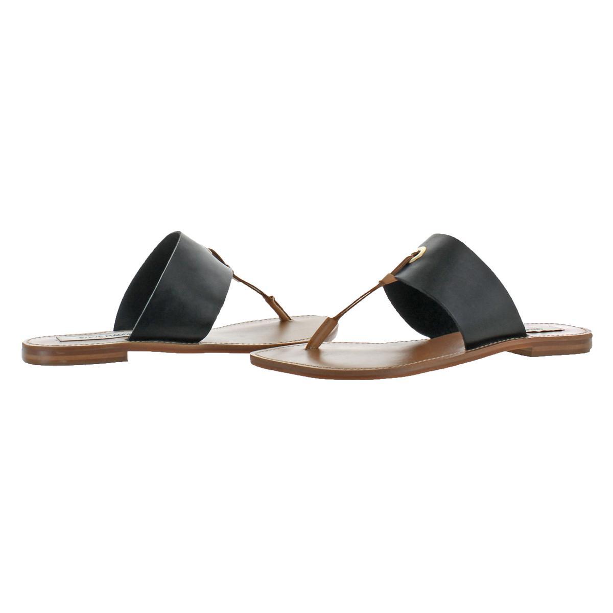Steve-Madden-Women-039-s-Ringer-Leather-Casual-Thong-Slide-Flat-Sandals-Shoes
