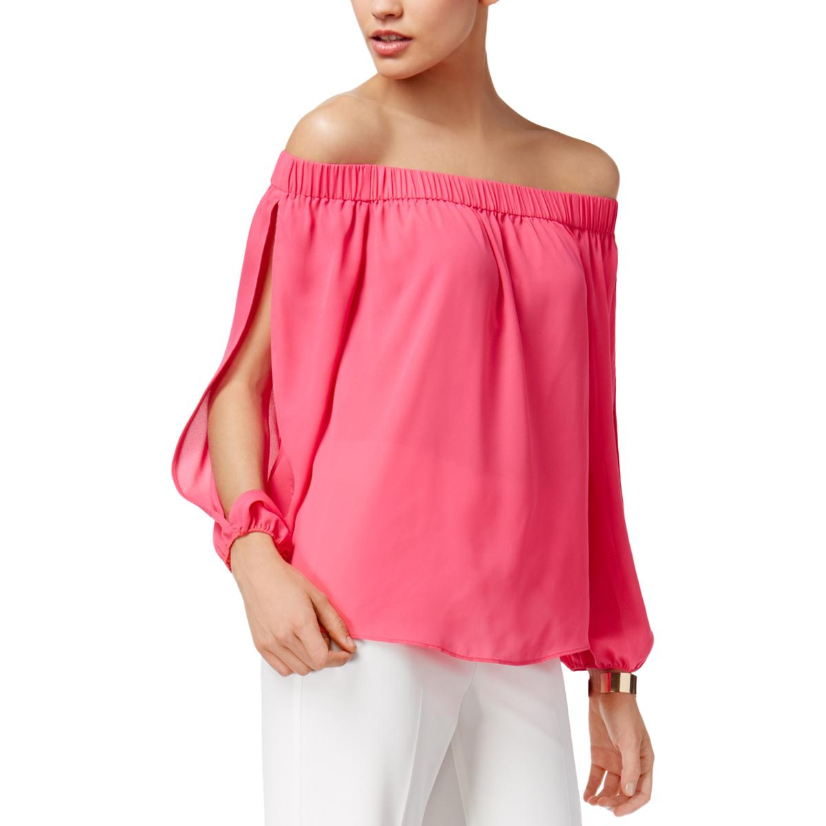 INC-Womens-Crepe-Off-The-Shoulder-Split-Sleeves-Strapless-Top-Shirt-BHFO-4367