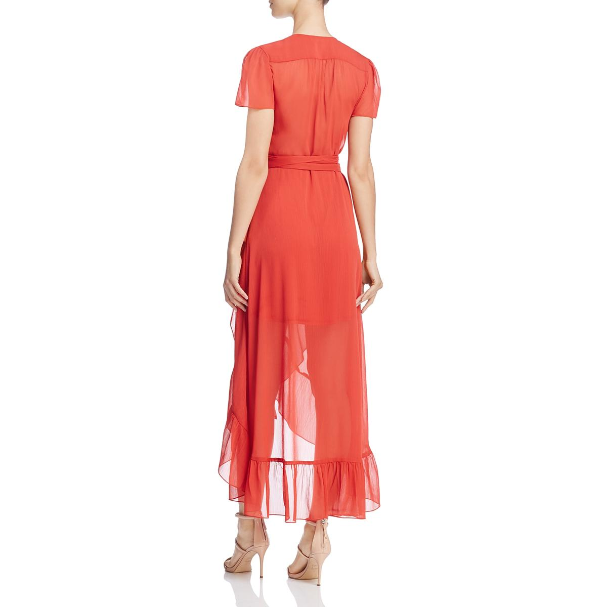 WAYF-Womens-Meryl-Chiffon-Short-Sleeves-Midi-Wrap-Dress-BHFO-2389