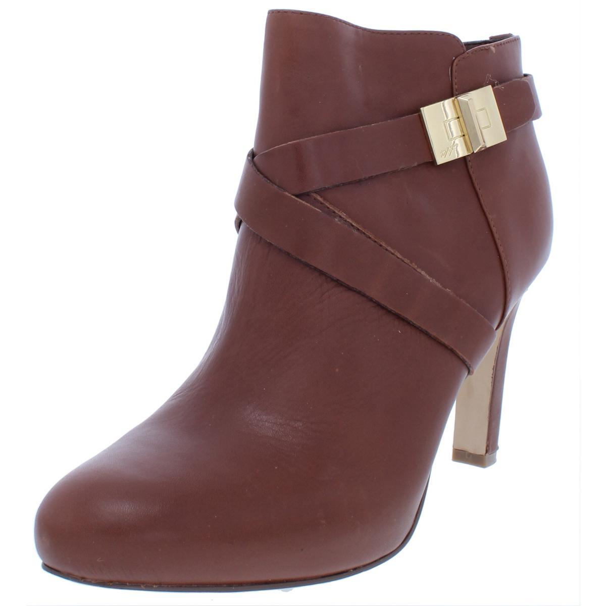 Marc Fisher Womens Orlanda Brown Leather Booties Heels 9 Medium (B,M) BHFO 6081