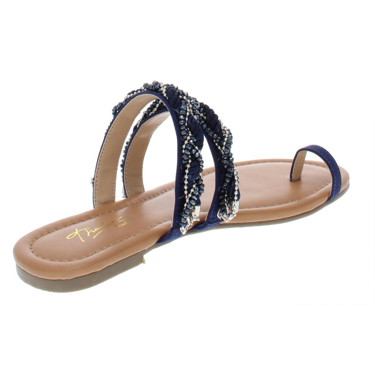 Thalia-Sodi-Womens-Jaelah-Toe-Ring-Microsuede-Dress-Flat-Sandals-Shoes-BHFO-7192 thumbnail 4