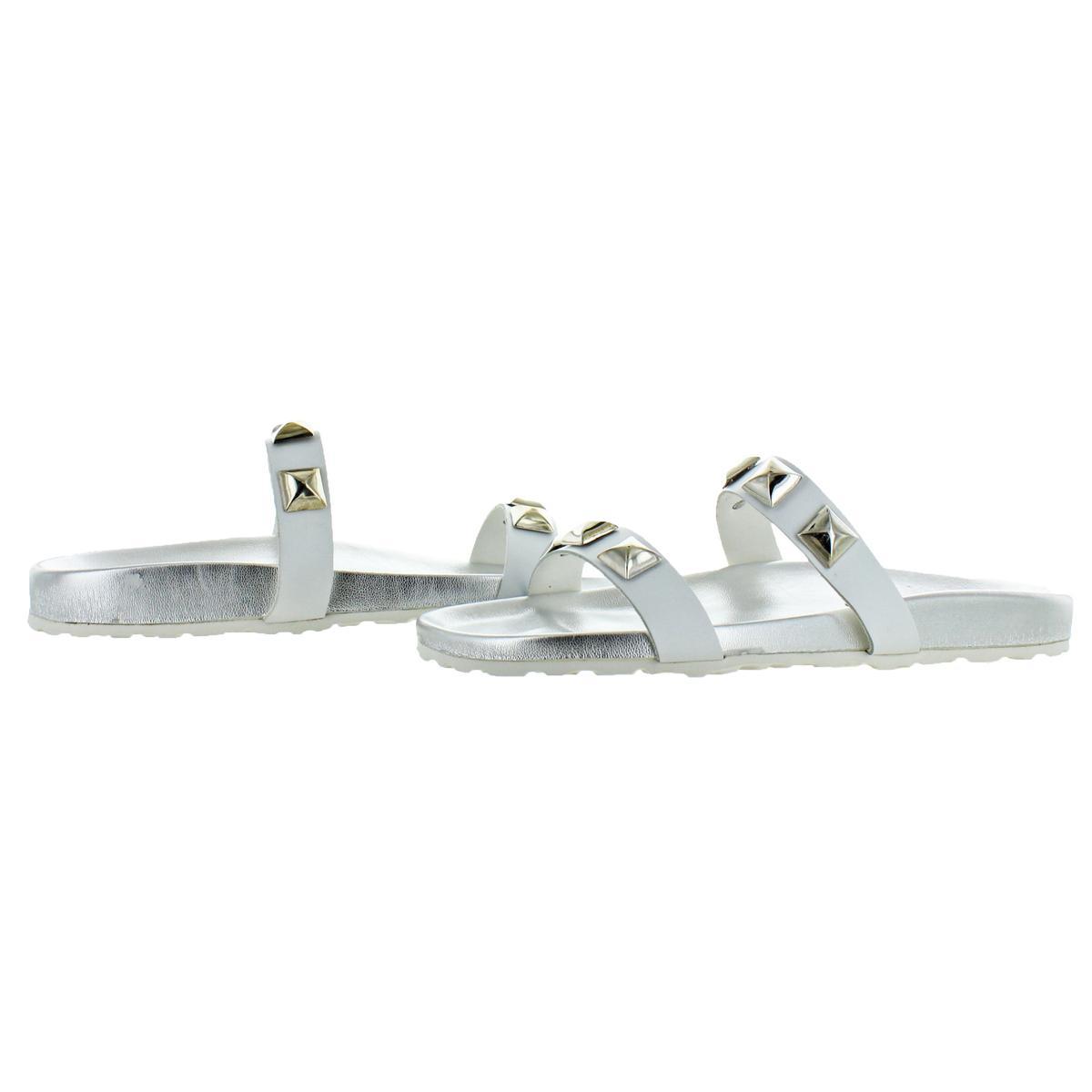 Steve-Madden-Women-039-s-Yield-Leather-Studded-Flat-Slide-Sandals thumbnail 6