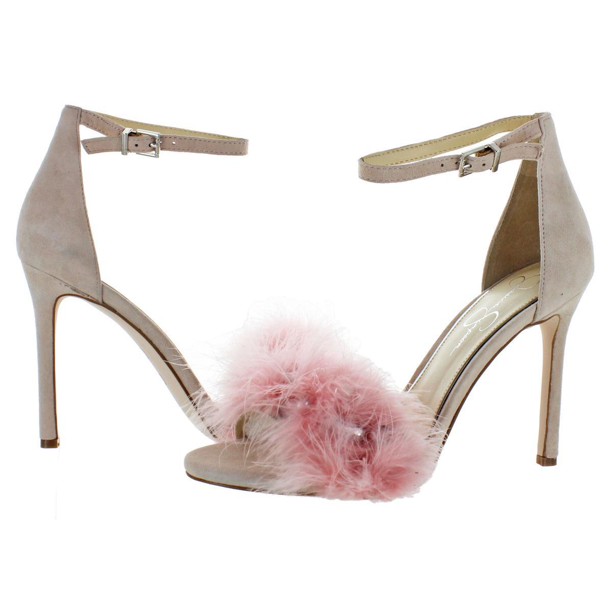Jessica-Simpson-Womens-Jolinda-Suede-Feather-Dress-Sandals-Shoes-BHFO-8609 thumbnail 5