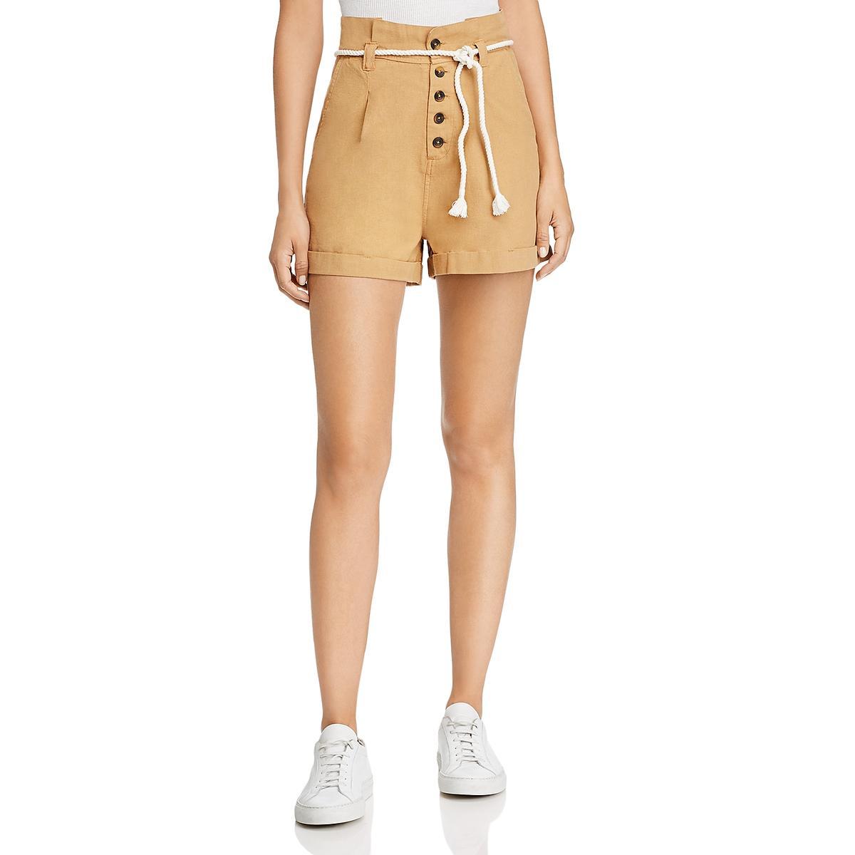 Maison Jules Womens High Rise Solid Paperbag Waist Shorts BHFO 3538