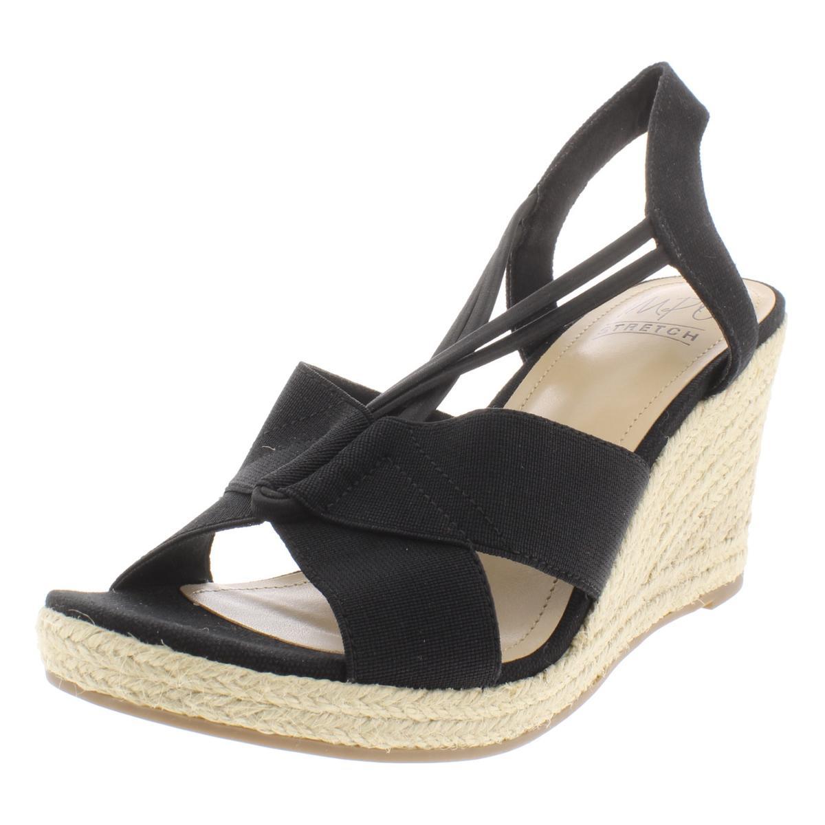 be9417932128 Details about Impo Womens Tegan Wedge T-Strap Canvas Espadrilles Sandals  BHFO 8112