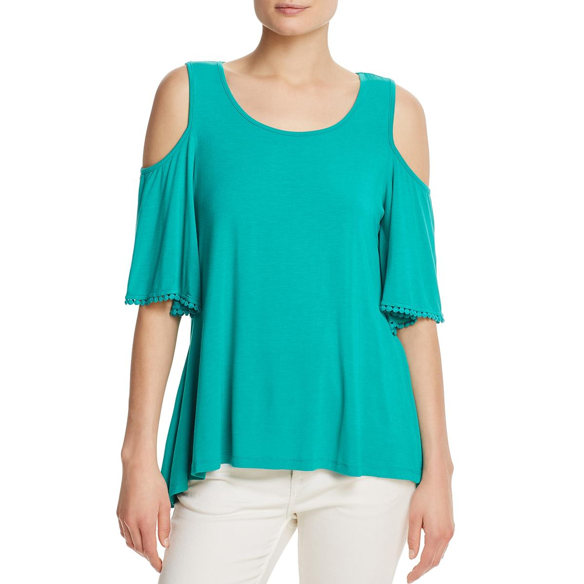 e9e5ef9d151dc8 Details about Cupio Womens Green Crochet Trim Cold Shoulder Casual Shirt Top  L BHFO 5698