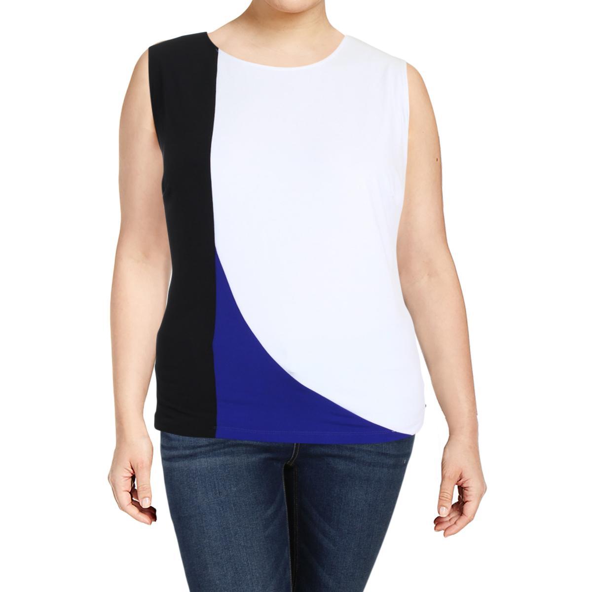 89a0ddad17a539 Details about Calvin Klein Womens Colorblock Sleeveless Crewneck Tank Top  Shirt Plus BHFO 1767