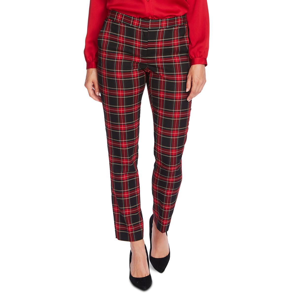 Vince Camuto Womens Holiday Tartan Plaid Ankle Sraight Pants BHFO 9661