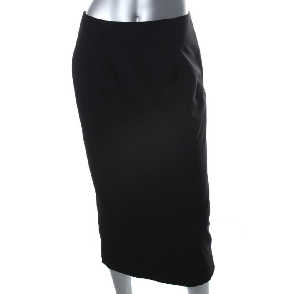 calvin klein new black flat front lined mid calf pencil