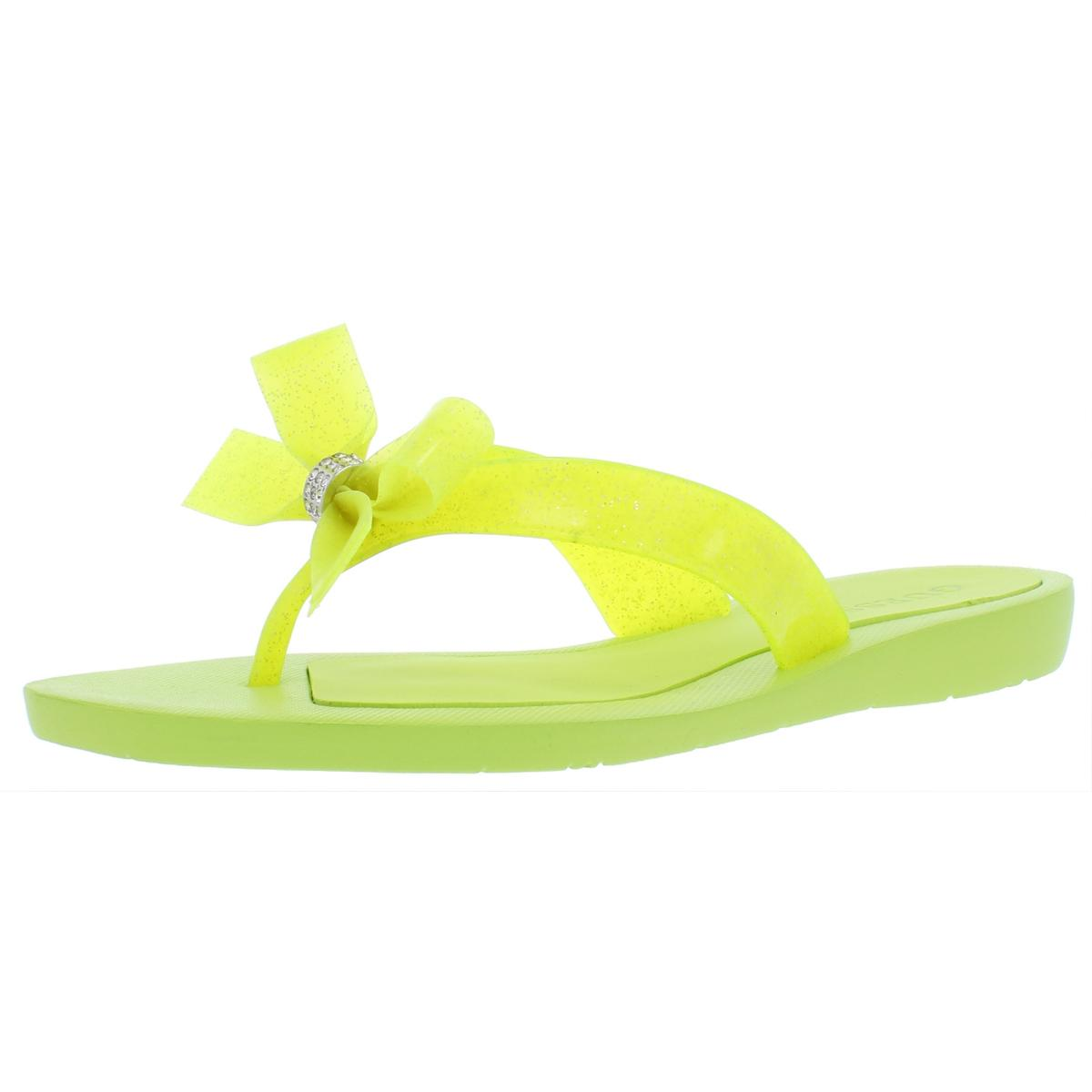 422f97afc1fb2e GUESS Womens Tutu 9 Yellow Bow Flats Flip-flops Sandals 6 Medium (b ...