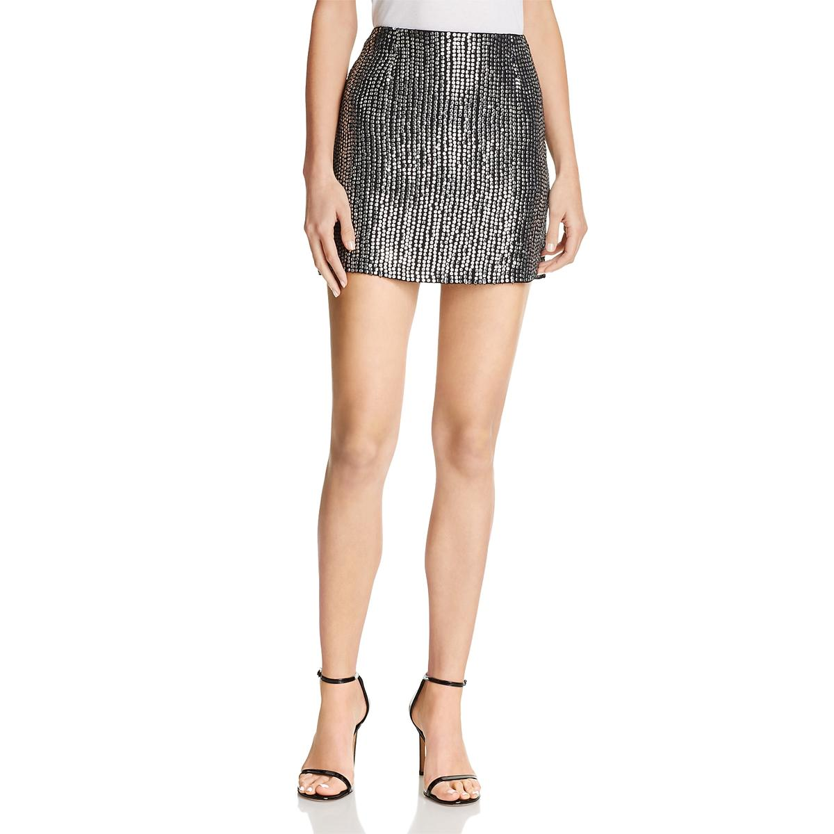 2ddb376b59 Details about French Connection Womens Desiree Black Sequin Layered Mini  Skirt 0 BHFO 8363