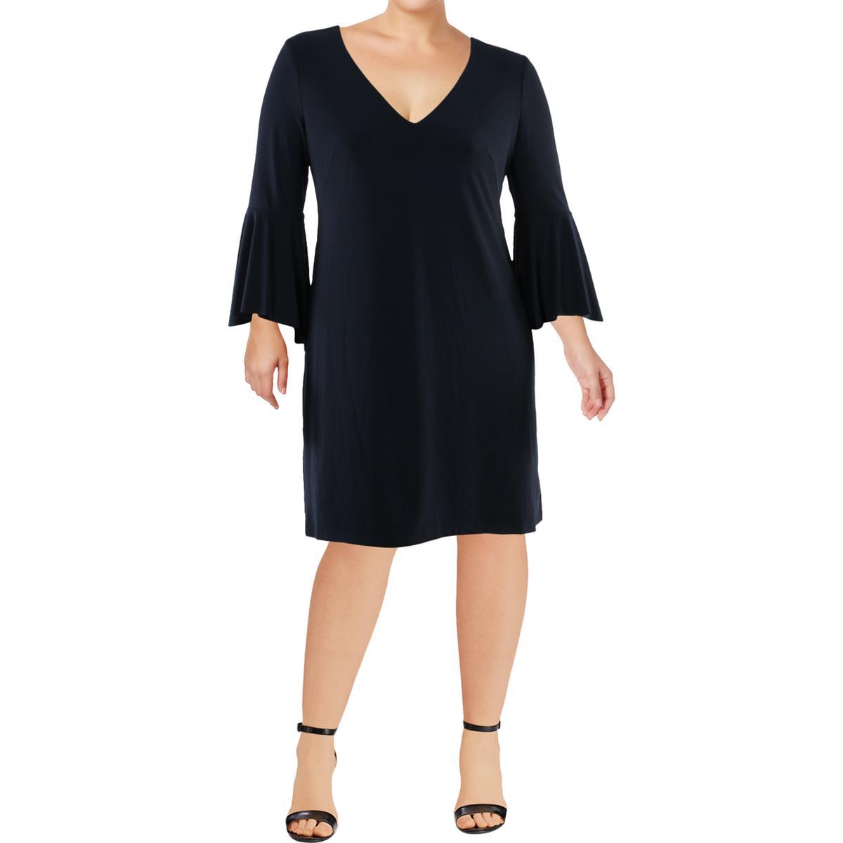fb768fb718b07 Details about Lauren Ralph Lauren Womens Bernadetta Navy V-Neck Mini Dress 8  BHFO 1174