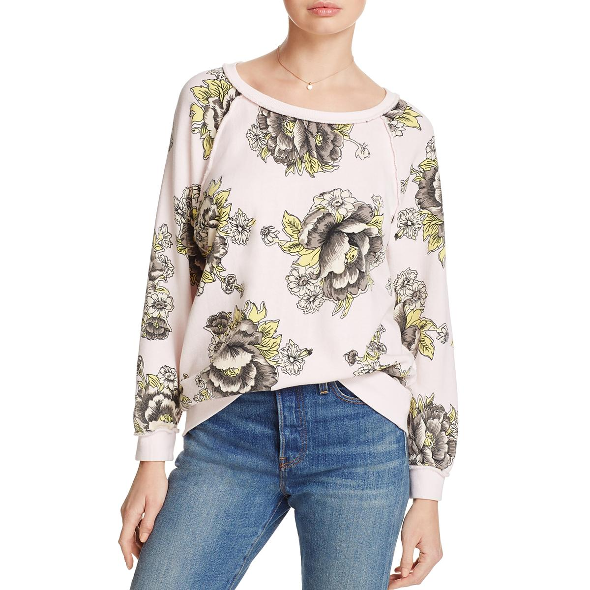 784db2a1fe0 Details about Free People Womens Pink Floral Raglan Casual Sweatshirt Top S  BHFO 8239