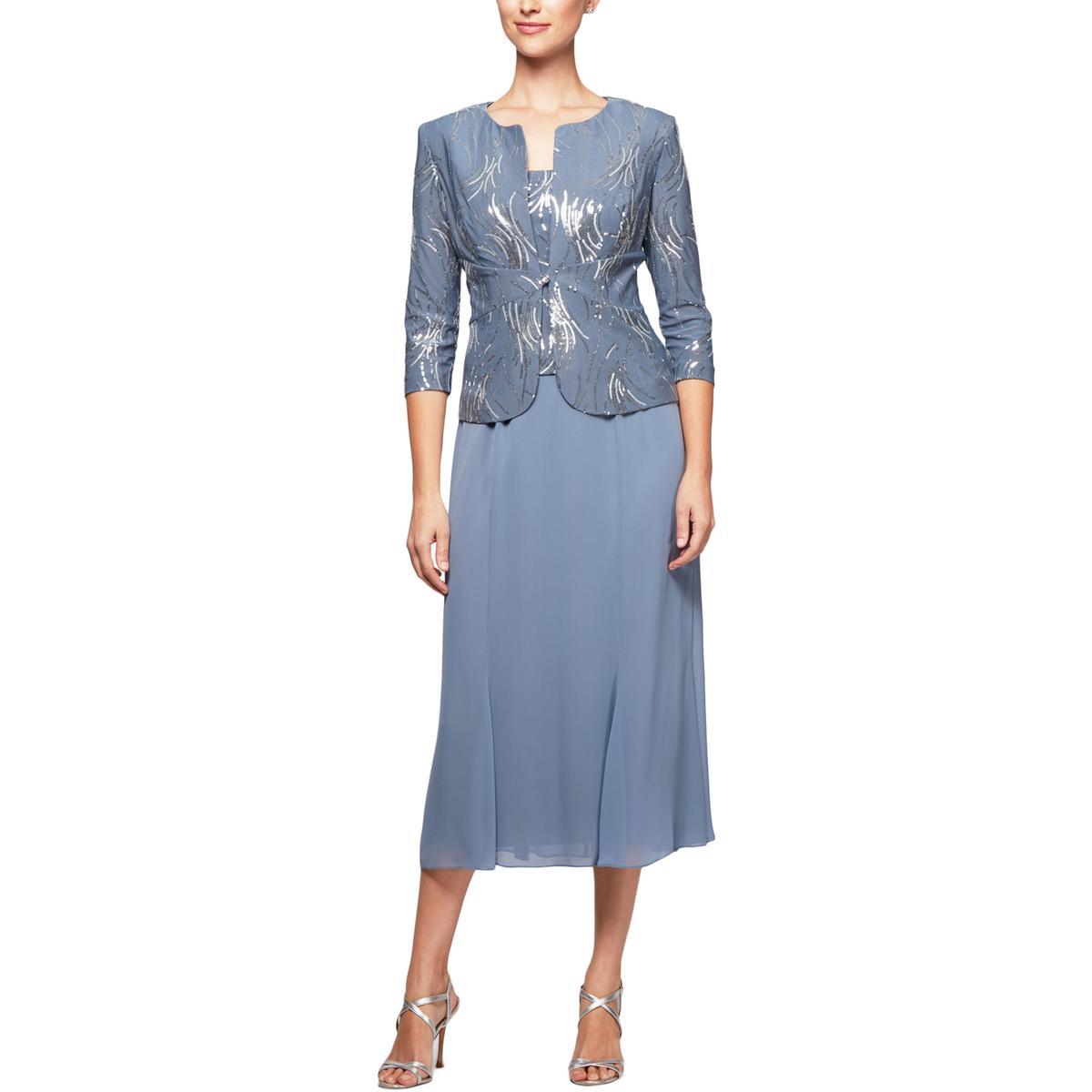 Blue Formal Dress Sequin Midi