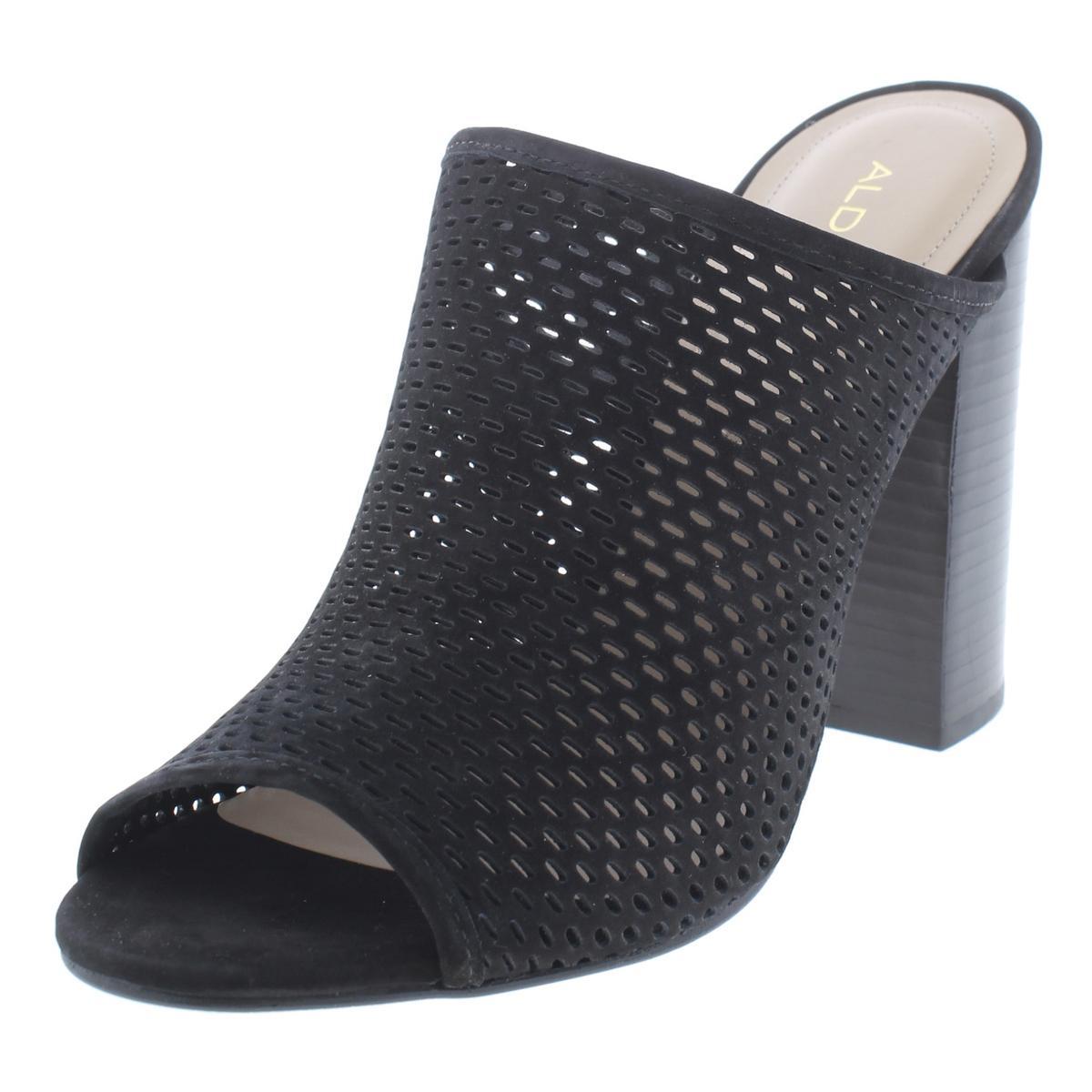 0cc33816d56 Aldo Womens Thiasa Black Leather Slide Sandals Shoes 8.5 Medium (B