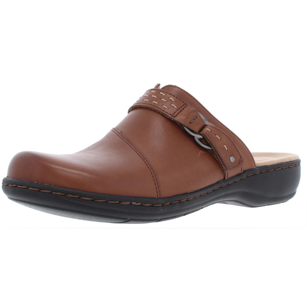 79a79e206042 Details about Clarks Womens Leisa Sadie Tan Leather Slide Mules Shoes 9  Medium (B