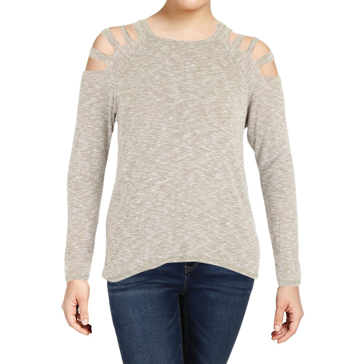 7473bbdc8a3 Elan Womens Cut-Out Cold Shoulder Marled Pullover Top Shirt BHFO ...