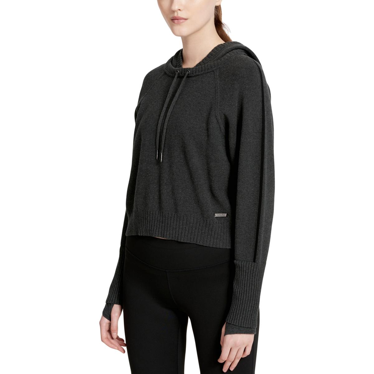 c1cde46d4b828 Calvin Klein Performance Womens Gray Cropped Sweater Hoodie Athletic ...