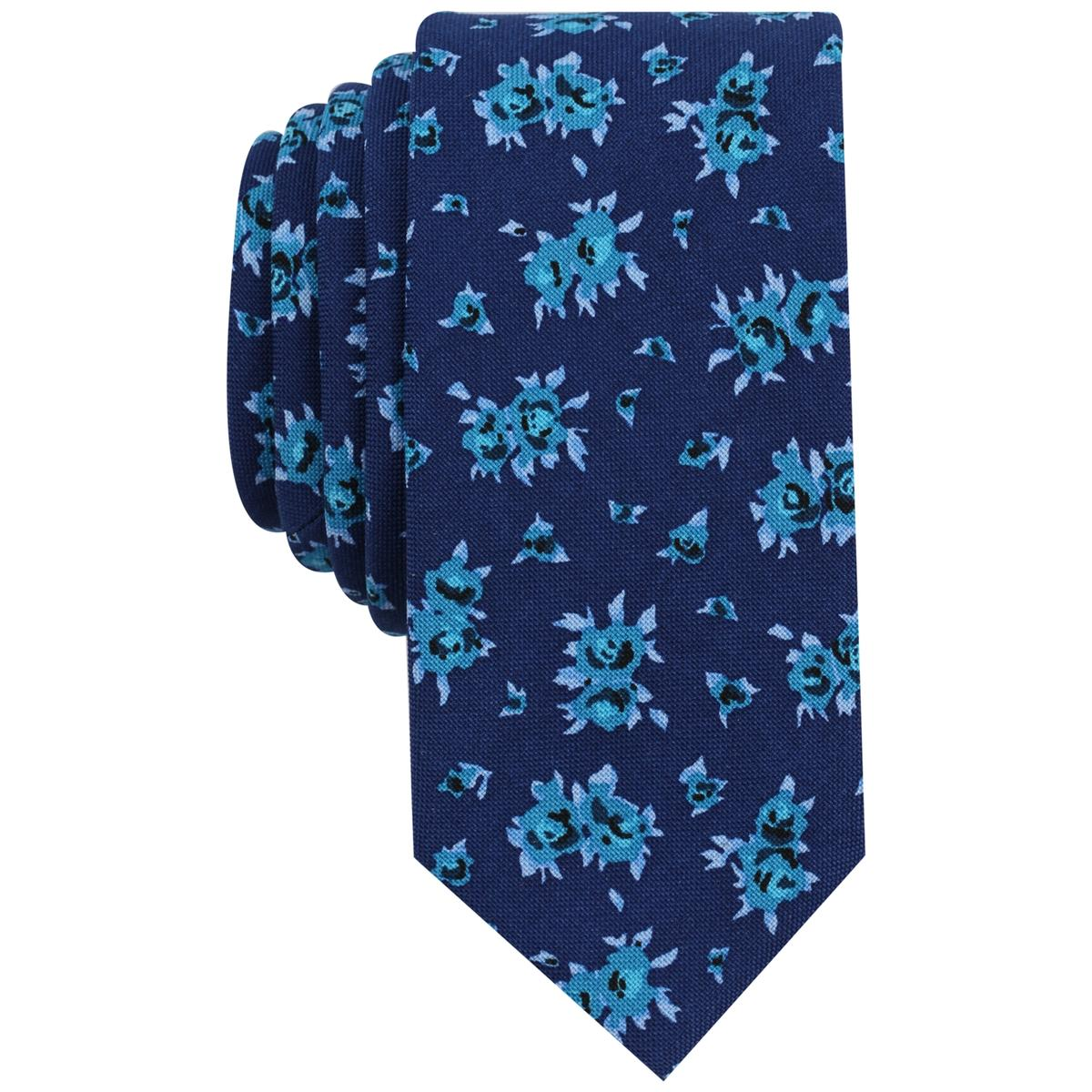 cfb0e631c0 Details about Bar III Mens Cana Blue Floral Print Slim Business Neck Tie  O S BHFO 0603