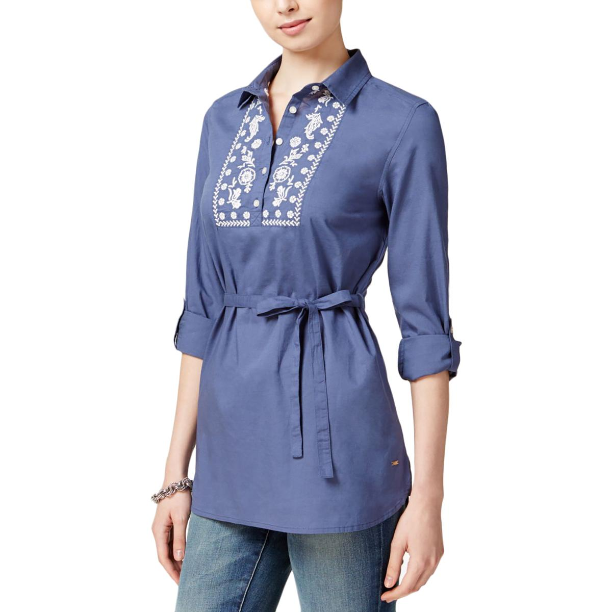 Tommy-Hilfiger-9008-Womens-Embroidered-Adjustable-Sleeves-Blouse-Shirt-BHFO