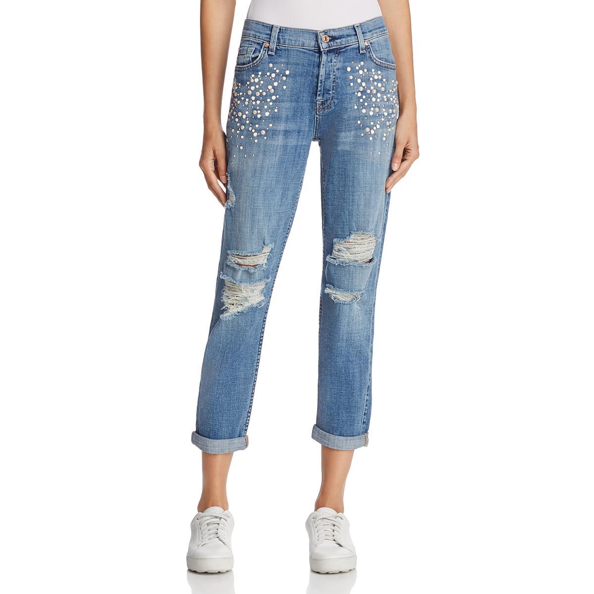 7 For All Mankind Womens Josefina bluee Beaded Boyfriend Jeans 29 BHFO 1354