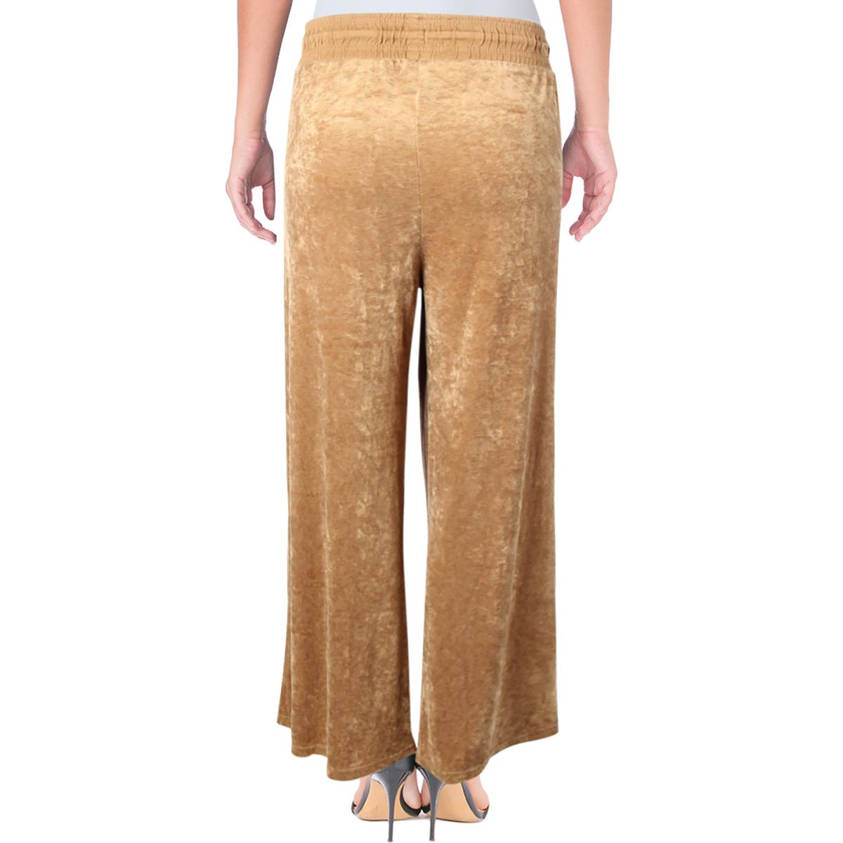 6418b7cc0c Free People Womens Gold Velour Pull On Casual Wide Leg Pants M BHFO ...
