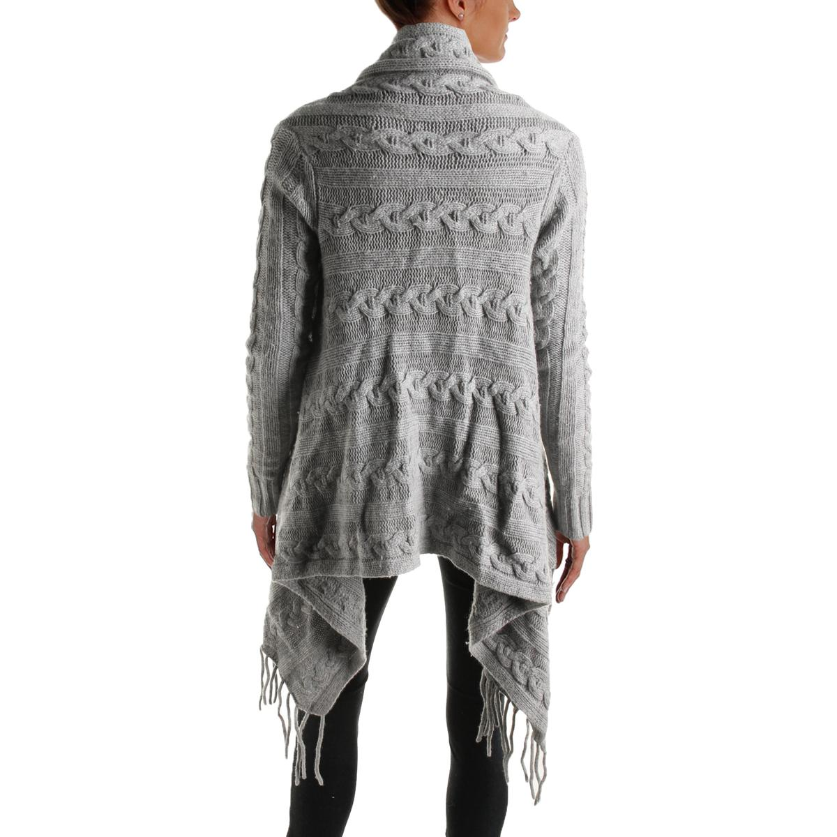 The Lane 3949 Womens Wool Blend Open Front Fringe Cardigan Sweater ...