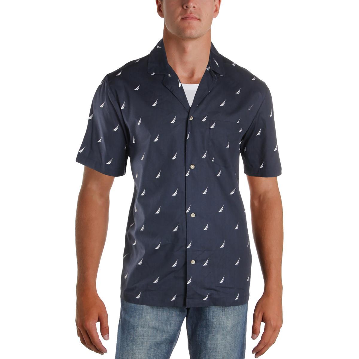 b0f11a20f3 Details about Nautica Sleepwear Mens Cotton Woven Short Sleeve Sleep Shirt  Top BHFO 4317