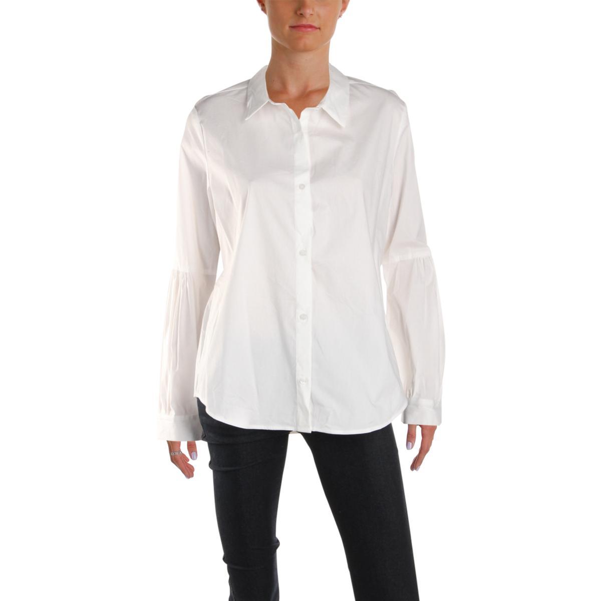 7f8394e2 Calvin Klein Womens White Sheer Collared Button-Down Top Blouse M ...