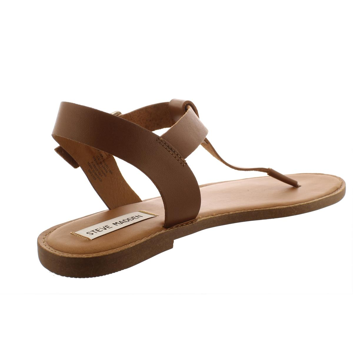 Steve-Madden-Womens-Skylar-Leather-Flats-Thong-T-Strap-Sandals-Shoes-BHFO-6308 thumbnail 4