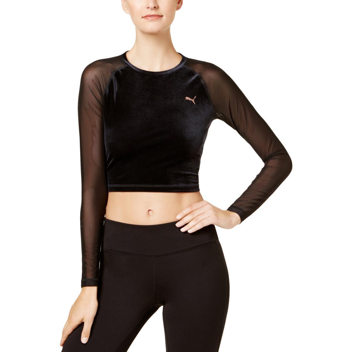 Details about Puma Womens Crop Top Velvet Mesh Sleeve Shirts   Tops BHFO  5511 a568909fb60