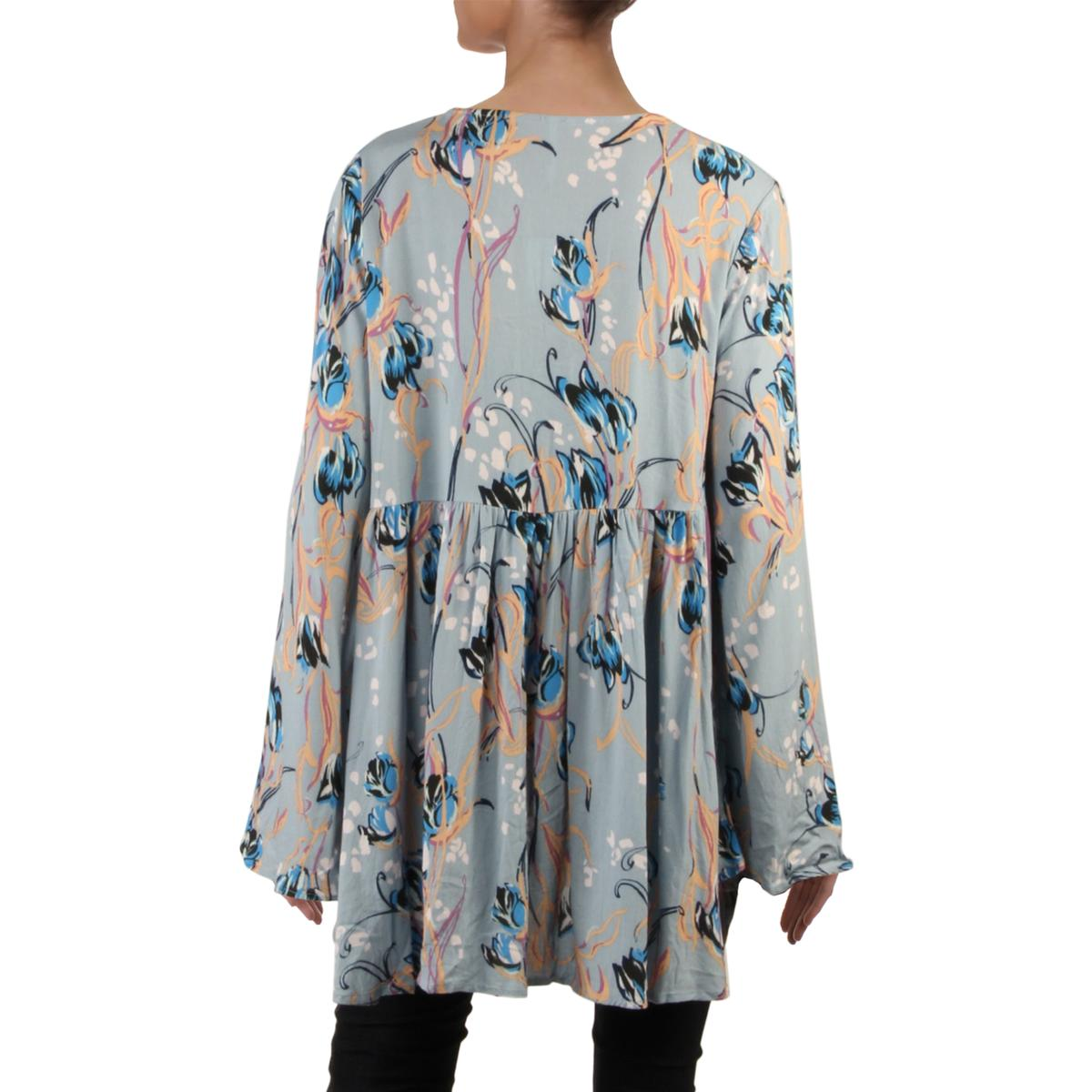 Free People Womens Bella Bell Sleeve V-Neck Casual Tunic Top Shirt BHFO 2373