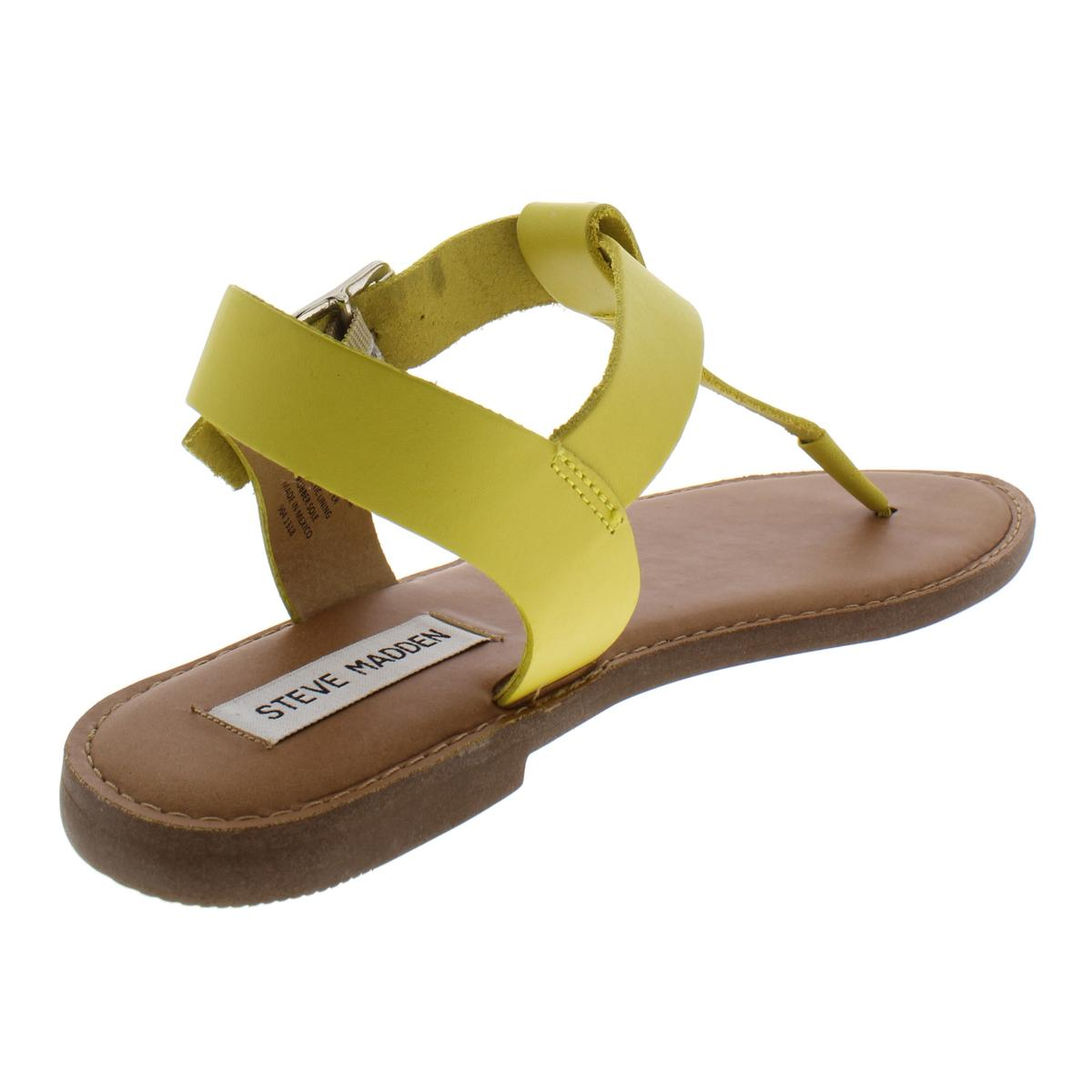 Steve-Madden-Womens-Skylar-Leather-Flats-Thong-T-Strap-Sandals-Shoes-BHFO-6308 thumbnail 10