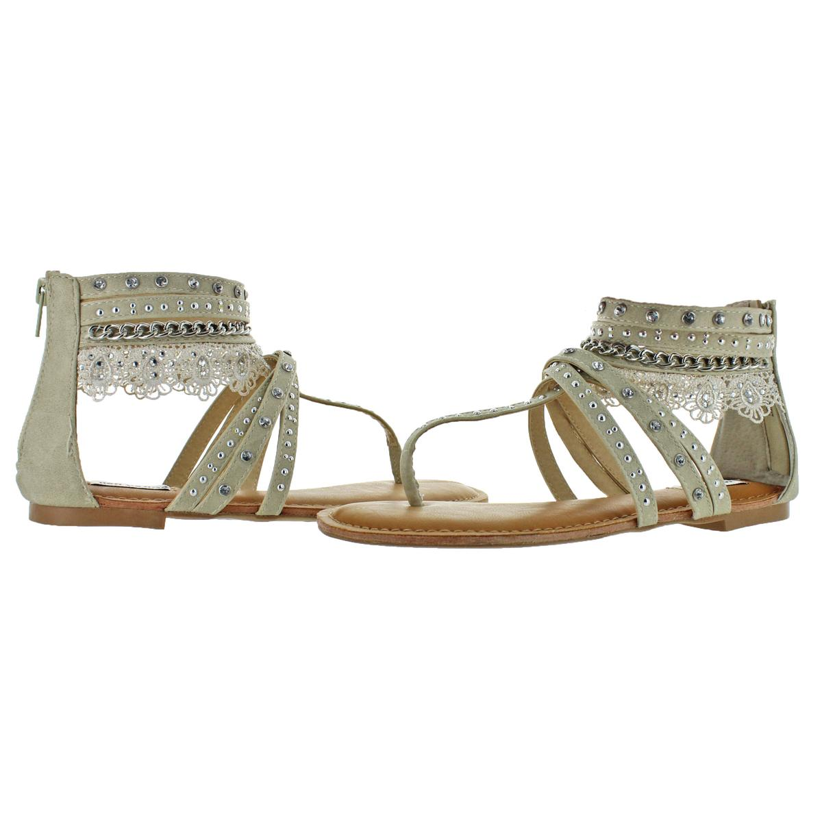 Not-Rated-Women-039-s-Willow-Faux-Leather-Studded-Thong-Gladiator-Sandals thumbnail 6